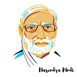 Narendra Modi Portrait vektor illustrationer