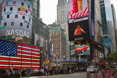 Narendra Modi's speech on Times Square Digital Screen. Indian Prime Minister Narendra Modi's speech on Times Square's digital screen, New York City, New York stock image