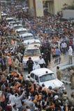 Narendra Modi in Varanasi. VARANASI - MAY 8: Prime Minister Narendra Modi's convoy coming out of Benaras Hindu University during a roadshow on May 8, 2014 in Stock Photography