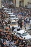 Narendra Modi in Varanasi. VARANASI - MAY 8: Prime Minister Narendra Modi's convoy coming out of Benaras Hindu University during a roadshow on May 8, 2014 in Stock Photos