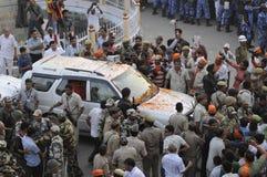 Narendra Modi in Varanasi. VARANASI - MAY 8:  Prime Minister Narendra Modi's convoy trying to pass through a sea of waiting crowds on May 8, 2014 in Varanasi Stock Image