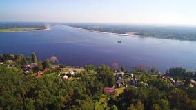 Narew river and Zegrzynski Reservoir by Serock resort near Warsaw, Poland stock video