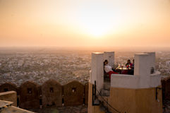 Nargarh cafe - jaipur cityscape. Jaipur, India - 2 March 2014: Cafe in Nargarh fort situated on a cliff overlooking the city of Jaipur. It allows you to dine Royalty Free Stock Image