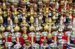 Narguileh shisha water pipes detail in cairo egypt stock photography