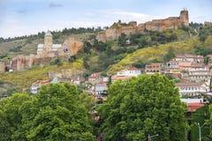 Narikala,古老堡垒在老城市第比利斯,乔治亚 库存照片