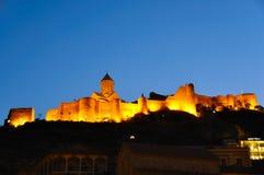 Narikala Fortress at night, Tibilisi Georgia Royalty Free Stock Images