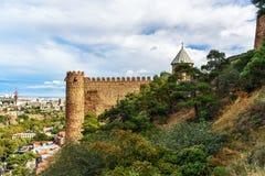 Narikala fortress with Saint Nicholas church and view of Tbilisi. Georgia Stock Photos