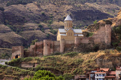 Narikala fortress in Tbilisi city, Georgia. Narikala is an ancient fortress in Tbilisi. On the lower court there is the recently restored St Nicholas church Stock Images