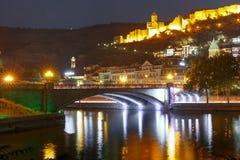 Narikala and Kura river at night, Tbilisi, Georgia Royalty Free Stock Photos