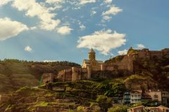 Narikala - a serf complex of different eras in Old Tbilisi.  Stock Photography