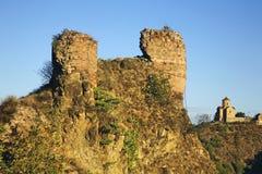 Narikala and Tabor Monastery of Transformation in Tbilisi. Georgia Royalty Free Stock Photo