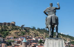 Narikala in Tbilisi. Narikala Fortress and statue of Vakhtang I Gorgasali (Wolf Head) in Tbilisi, Georgia Stock Photography