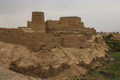 Narin Qal`eh or Narin Castle is a mud-brick fort or castle in th. E town of Meybod, Iran stock image