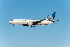 NARITA - IL GIAPPONE, IL 25 GENNAIO 2017: Atterraggio di N73299 Boeing 737 United Airlines nell'aeroporto internazionale di Narit Immagini Stock Libere da Diritti