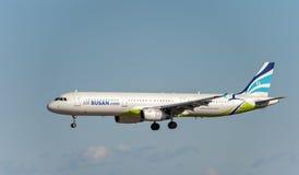 NARITA - JAPÓN, EL 25 DE ENERO DE 2017: Aterrizaje de Busán del aire de HL7713 Airbus A321 en el aeropuerto internacional de Nari Imagen de archivo
