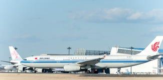 NARITA - JAPÓN, EL 25 DE ENERO DE 2017: B-6101 Airbus A330 Air China en el aeropuerto internacional de Narita, Japón Imágenes de archivo libres de regalías