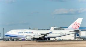 NARITA - JAPÓN, EL 25 DE ENERO DE 2017: B18212 Boeing 747 China Airlines en el aeropuerto internacional de Narita, Japón Foto de archivo libre de regalías