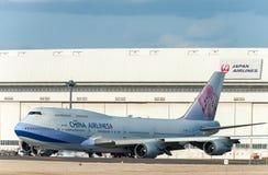NARITA - JAPÓN, EL 25 DE ENERO DE 2017: B18212 Boeing 747 China Airlines en el aeropuerto internacional de Narita, Japón Imagen de archivo libre de regalías