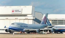 NARITA - JAPAN, JANUARI 25, 2017: B18212 Boeing 747 China Airlines i den internationella Narita flygplatsen, Japan Arkivfoton