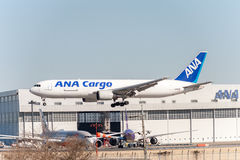 NARITA - JAPAN, JANUARI 25, 2017: Landning för JA8286 Boeing 767 ANA Cargo All Nippon Airways i den internationella Narita flygpl Fotografering för Bildbyråer