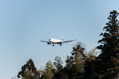 NARITA - JAPAN, JANUARI 25, 2017: Landning för JA602F Boeing 767 ANA Cargo All Nippon Airways i den internationella Narita flygpl Arkivfoton