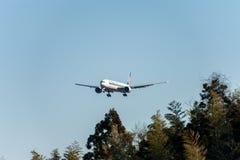 NARITA - JAPAN, JANUARY 25, 2017: 9V-SWL Boeing 777 Singapore Airlines Landing in International Narita Airport, Japan. Royalty Free Stock Photos