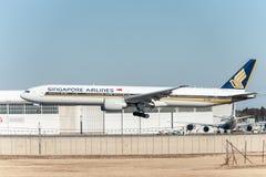 NARITA - JAPAN, JANUARY 25, 2017: 9V-SWL Boeing 777 Singapore Airlines Landing in International Narita Airport, Japan. Royalty Free Stock Image