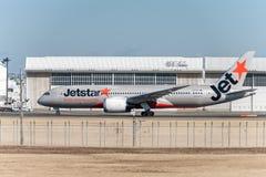 NARITA - JAPAN, JANUARY 25, 2017: Vh-VKG Boeing 787 Dreamliner Jetstar Airways Ready to take off in International Narita Airport, stock images