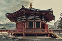 Pagoda at Naritasan Shinshoji temple, Narita, Japan. Temple is p. Narita, Japan 17 March, 2018: Prince Shotoku Hall at Naritasan Temple in Narita, Japan. Narita royalty free stock photo
