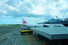 NARITA, JAPAN -9 Sept 2018: Planes from Japan Airlines JL at t. NARITA, JAPAN -9 Sept 2018: NARITA, JAPAN -9 Sept 2018: Planes from Japan Airlines JL at the stock photography