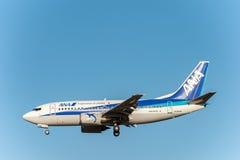 NARITA, JAPONIA -, STYCZEŃ 25, 2017: JA304K Boeing 737 ANA skrzydła Ląduje w Międzynarodowym Narita lotnisku, Japonia zdjęcie stock