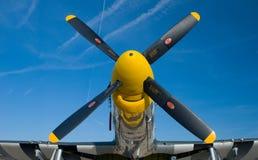 Nariz amarilla de un mustango P-51 Foto de archivo libre de regalías