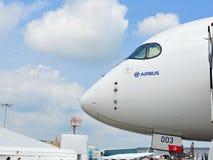 Nariz de Airbus A350-900 XWB em Singapura Airshow Fotos de Stock Royalty Free