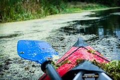Nariz de una canoa del deporte con la paleta Fotografía de archivo libre de regalías