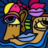 Nariz del ojo y boca coloreada Foto de archivo libre de regalías