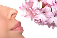 Nariz del primer y una flor Alergia al polen de flores asma fotografía de archivo