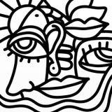 Nariz e boca do olho em preto e branco ilustração do vetor