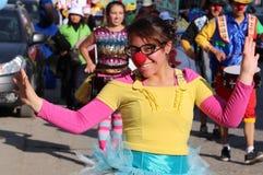 Nariz feliz roja hermosa de la danza de la bailarina Foto de archivo