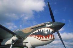 Nariz pintado de um avião antigo em Burnet, Texas fotos de stock royalty free