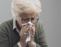 Nariz que sopla de la señora mayor enferma fotos de archivo libres de regalías