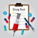Narkotiska preparatet för medicinsk rapport för dokument för drogprov resulterar det olaglig och böjelseupptäckt Royaltyfri Bild