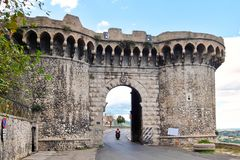 Narni, Italy. A mighty city gate protected the small Umbrian town of Narni royalty free stock image