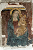 Narni (Italy): Virgin Mary and Child, fresco. Narni (Umbria, Italy): Virgin Mary and Child, fresco in the Santa Maria Impensole  church (12th century Royalty Free Stock Photos