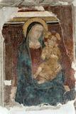 Narni (Italy): Virgin Mary e criança, fresco fotos de stock royalty free