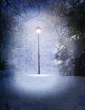 Narnia lamp. Lamp in middle of woods with snow falling stock illustration