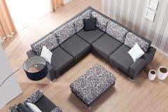 Narożnikowa kanapa dla domowego odgórnego widoku fotografia royalty free