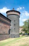 Narożnikowy wierza Sforza kasztel Mediolan, Włochy (XV wiek) Zdjęcie Royalty Free
