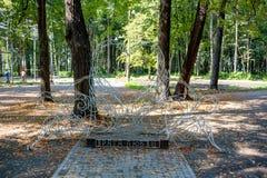 NARO-FOMINSK RYSSLAND - AUGUSTI 2017: Central Park royaltyfria bilder