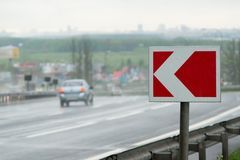 Narożnikowy znak na autostradzie Zdjęcia Royalty Free