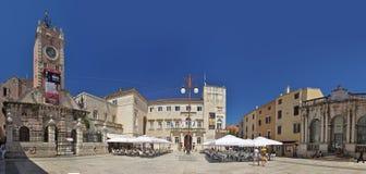 Narodni trg in Zadar. National square (croatian: Narodni trg) in Zadar, Croatia. Panorama photo Royalty Free Stock Images